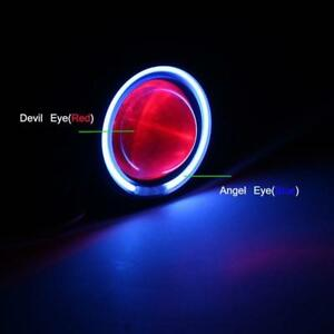 Universal Motorcycle Led Projector Headlight Ccfl Angel devil Eye Hi lo 1pcs
