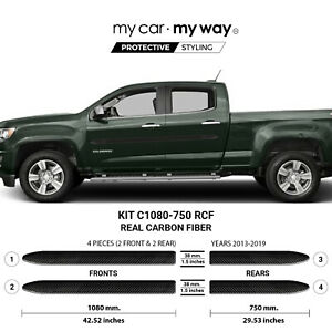 Fits Chevy Colorado 2013 2019 Long Box Crew Real Carbon Fiber Body Side Molding