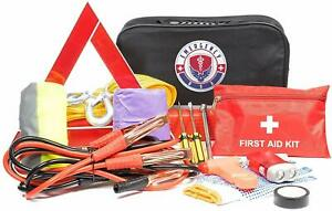 Roadside Assistance Car Emergency Kit First Aid Jumper Cables Tow Rope More