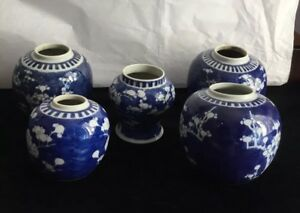 Antique 5 Chinese Blue White Canton Ginger Jars With Circles On Bottom