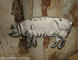 Pig Hog Wall Hanging Primitive French Country Farmhouse Kitchen Peg Shelf Decor