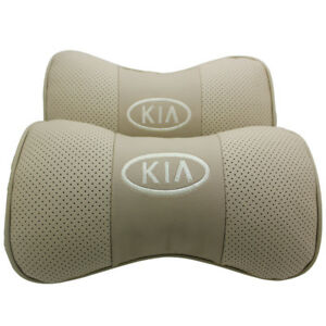2pc Beige Real Leather Car Seat Neck Cushion Pillow Car Headrest Fit For Kia Car