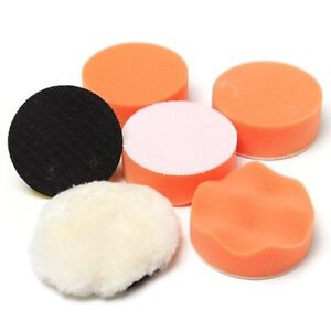 Auto Car Polish 3 Foam Sponge Pad Polisher Buffer 1 4 Drill Adapter Kit 7 Pc