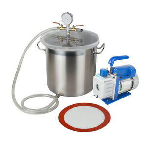 New 5gallon Stainless Steel Vacuum Degassing Chamber Silicone Kit 3cfm Pump Hose