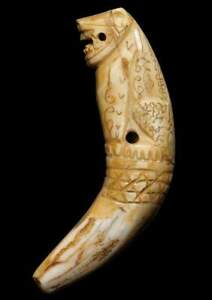 Tiger Carved Fang Tooth Thai Amulet Powerful Lucky Magic Charm Talisman