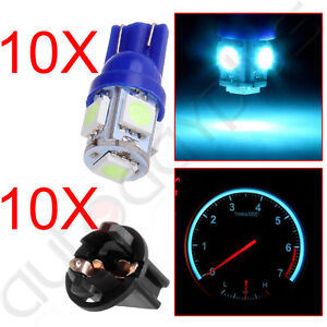 10pcs Ice Blue 168 194 T10 Led Bulbs W Socket Instrument Dash Light Replacement