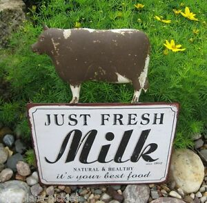 Brown Dairy Milk Cow Wall Sign Primitive French Country Farmhouse Kitchen Decor
