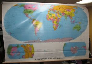 Vintage Rand Mcnally 12185 Political World School Pull Down Map J0365