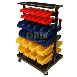 Double Sided Parts Rack Storage Shelf Organizer With 60 Removable Bins