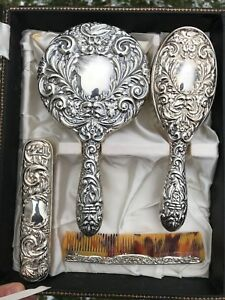 Sterling Silver Hair Brush Grooming Set 4 Pieces With Case B Co Made In England