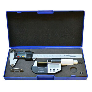 150mm 6 Electronic Digital Caliper Stainless Steel 0 25mm Micrometer Combo