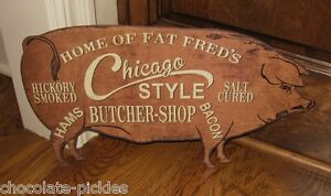 Fred Pig Butcher Shop Wall Sign Primitive French Country Kitchen Farmhouse Decor