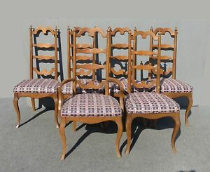 Six Vintage Ethan Allen Style Mid Century Ladder Back Dining Room Chairs