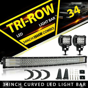 Tri Row 34inch 468w Curved Led Light Bar Spot Flood Truck Offroad Vs 32 36