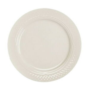 The Homer Laughlin Vitrified China Round Undecorated Wide Rim Plate Off white