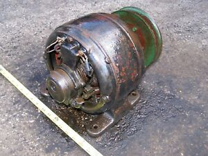 Old Belt Driven 110v Ac Generator Dynamo Hit Miss Gas Engine Steam Motor Nice