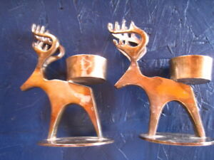 Pair Of Silverplate Reindeer Tea Light Candlestick Holders 5 Tall