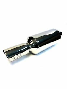 Obx Stainless Universal Muffler W 4 5 Slant cut Tip 2 5 inlet