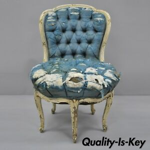 Antique French Louis Xv Style White Distress Painted 5 Legged Boudoir Chair