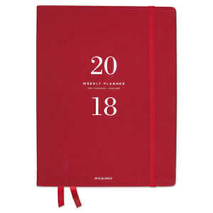 Signature Collection Weekly Monthly Red Perfect Bound Planner 8 1 2 X 11 2019