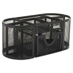 Mesh Pencil Cup Organizer Four Compartments Steel 9 1 3 X 4 1 2 X 4 Black