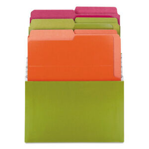 Organized Up Stadium Files W vertical Folders 3 Pocket Letter Bright Assorted
