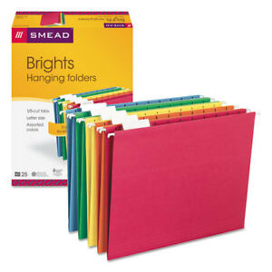 Hanging File Folders 1 5 Tab 11 Point Stock Letter Assorted Colors 25 box