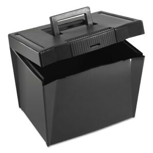 Portable File Storage Box Letter Plastic 13 1 2 X 10 1 4 X 10 7 8 Black