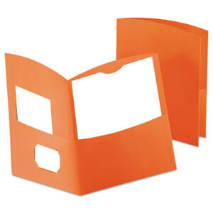 Contour Two pocket Recycled Paper Folder 100 sheet Capacity Orange