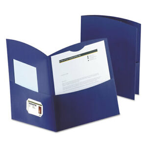 Contour Two pocket Recycled Paper Folder 100 sheet Capacity Dark Blue