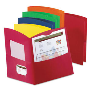 Contour Two pocket Reycled Paper Folder 100 sheet Capacity Assorted Colors