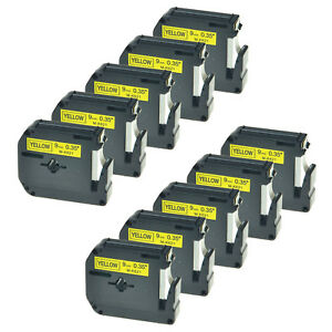 10 Pk Mk621 M k621 9mm Black On Yellow Lable Tape For Brother P touch 65sl 70bmh