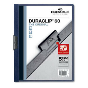 Vinyl Duraclip Report Cover W clip Letter Holds 60 Pages Clear navy 25 box
