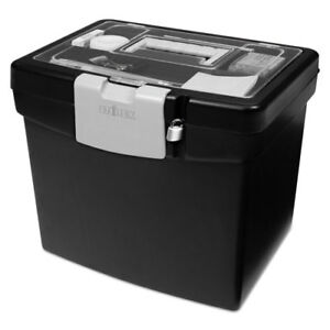 Portable File Box With Large Organizer Lid 13 1 4 X 10 7 8 X 11 Black