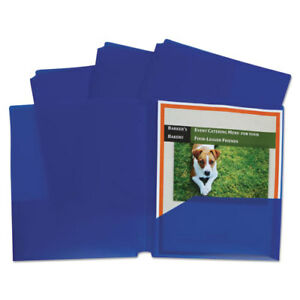 Two pocket Heavyweight Poly Portfolio Folder 3 hole Punch Letter Blue 25 box