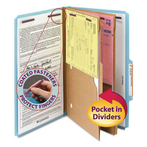 Pressboard Folders With Two Pocket Dividers Legal Six section Blue 10 box