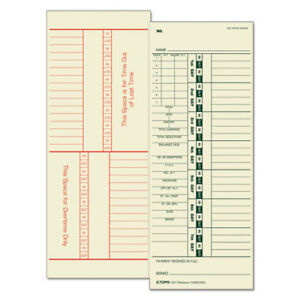 Time Card For Acroprint simplex Weekly Two sided 3 1 2 X 9 500 box