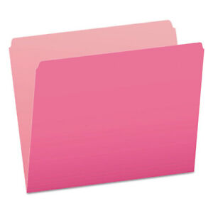 Colored File Folders Straight Cut Top Tab Letter Pink light Pink 100 box