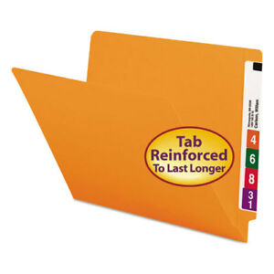 Colored File Folders Straight Cut Reinforced End Tab Letter Orange 100 box