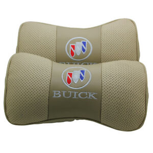 2pc Beige Real Leather Car Seat Neck Pillow Car Headrest Fit For Buick Car