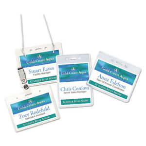 Secure Top Hanging style Badge Holders Horizontal 4w X 3h Clear 100 box
