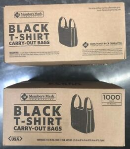 2 Cases t shirt Thank You Plastic Grocery Store Carry Out Bag 1000ct Black