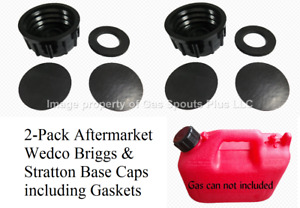 2 Pk Wedco Briggs Gas Can Base Solid Caps Blind Closed Storage Lid Viton Gasket