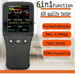 6 In1 Air Quality Detector Formaldehyde Hcho Pm2 5 Pm10 Gas Analyzer Detector