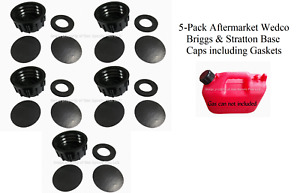 5 Pk Wedco Briggs Gas Can Base Solid Caps Blind Closed Storage Lid Viton Gasket