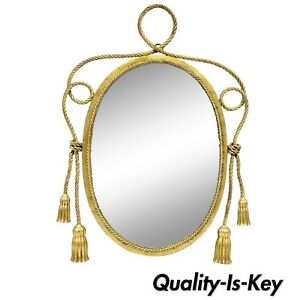 Vtg Italian Hollywood Regency Gold Iron Rope And Tassel Oval Wall Mirror 26 X 18