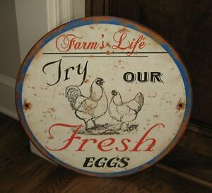 Big Rooster Chicken Eggs Farmhouse Sign Primitive French Country Kitchen Decor
