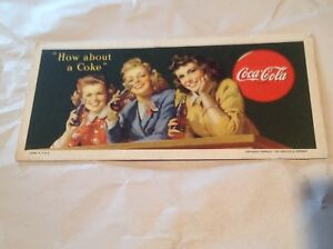 Vintage Coca Cola Ink Blotter with 3 Coke Girls  copyright 1944 great condition!