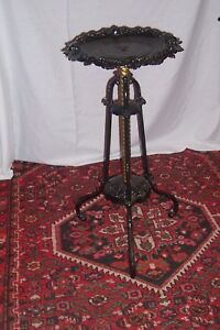 Antique Bradley Hubbard Cast Iron With Brass Column Signed Plant Stand L C29