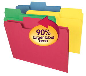 Smead Supertab 1 3 Cut Mediumweight Top Tab File Folders Letter Size Assorted